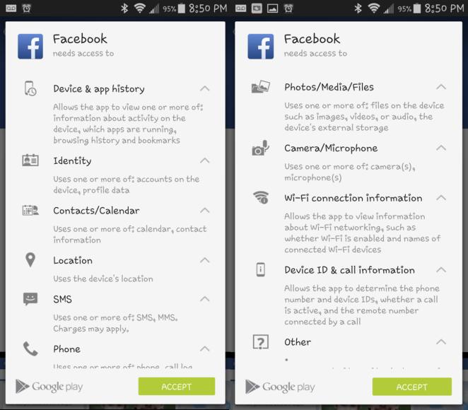 facebook permissions