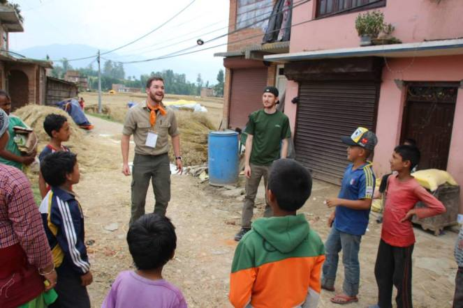 Photo taken by Jordan Silva - Adam (green shirt) hanging out with some of the Nepal kids.